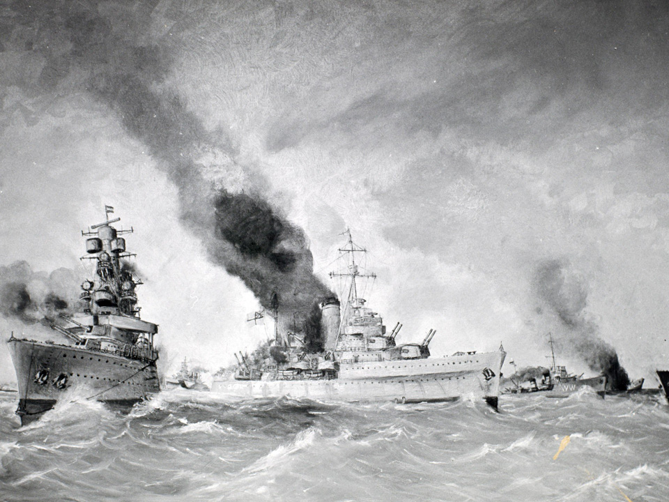 De Slag in de Javazee, schilderij door Van der Ven. V.l.n.r. twee Amerikaanse torpedobootjagers (Fourstackers), kruiser Hr.Ms. De Ruyter, HMAS Perth, HMS Exeter, Hr.Ms. Witte de With, Hr.Ms. Kortenaer in zinkende toestand en HMS Jupiter.